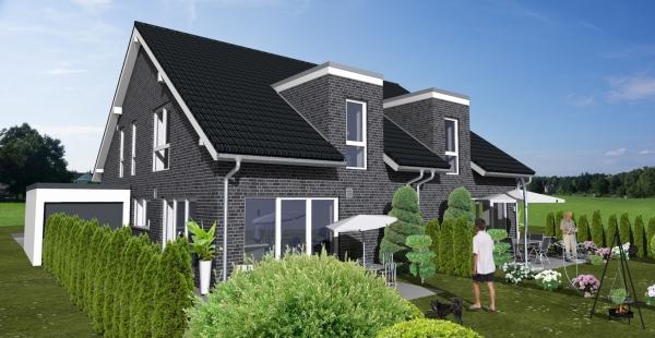 ARTOS BV Euskirchen, 2 Doppelhaushälften 3 D Ansicht hinten