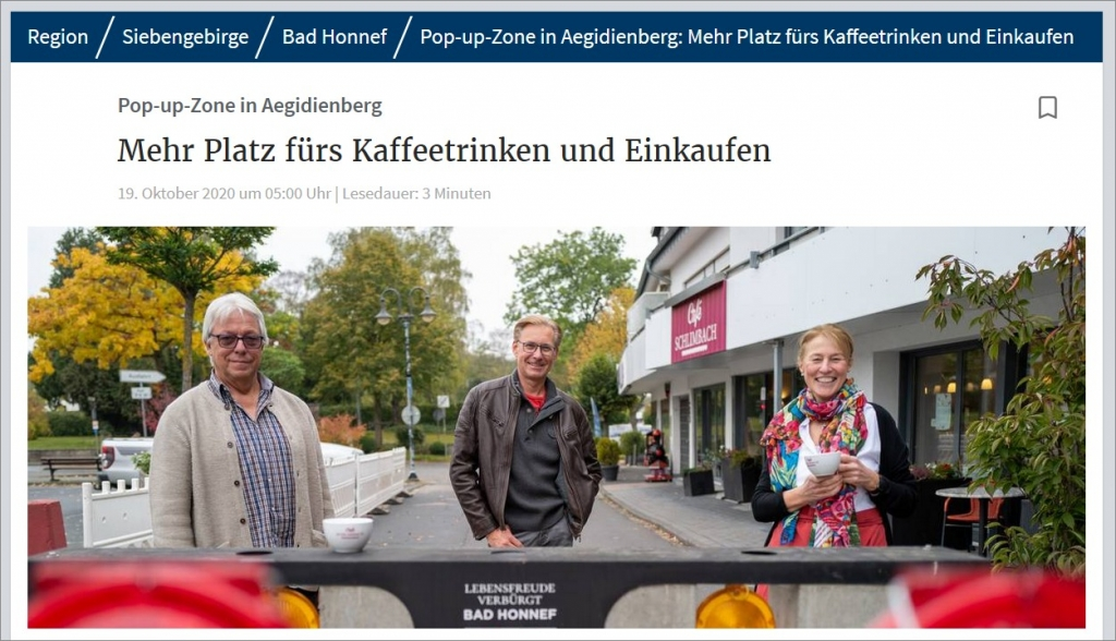Pop-up-Zone in Aegidienberg Mehr Platz fürs Kaffeetrinken und Einkaufen