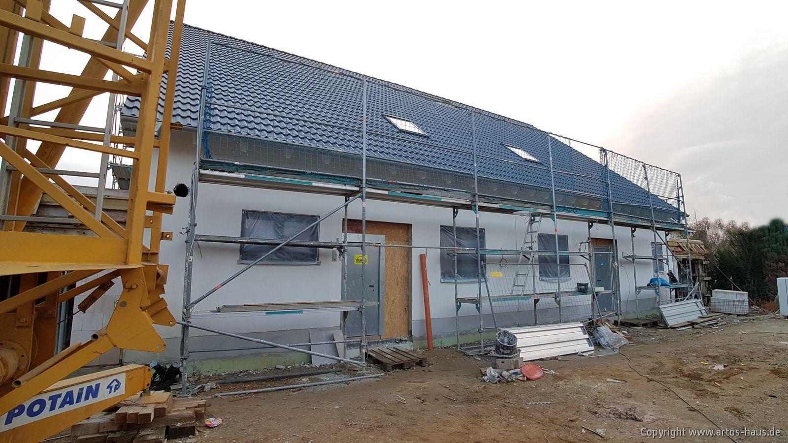 Außenputz getrocknet, Ansicht Baustelle Hürth ARTOS-HAUS Februar 2021
