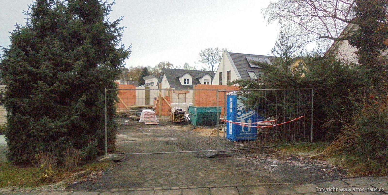 Blick auf die Baustelle, im Dezember 2020. Rohbau EG